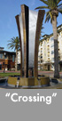 Thumbnail image of large bronze and stainless steel water feature.