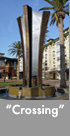 Thumbnail image of a large bronze and stainless steel water feature.