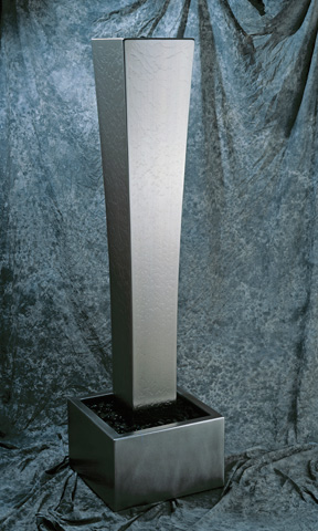 Image of a stainless steel water feature.