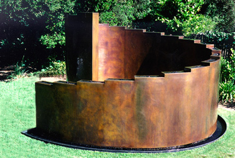 Image of a bronze waterwall.